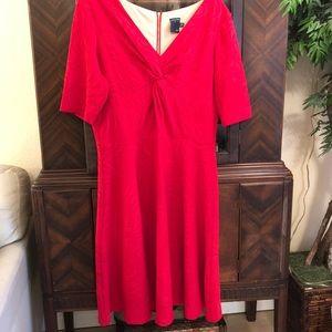 16W Red Stretch Jacquard Dress